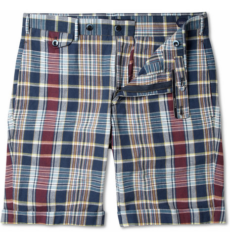 Slowear Incotex Madras-Check Cotton Shorts