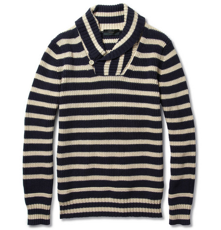 Slowear Zanone Striped Chunky-Knit Cotton-Blend Sweater