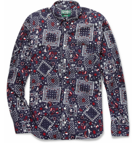 Gitman Vintage Nautical-Print Slim-Fit Cotton Shirt