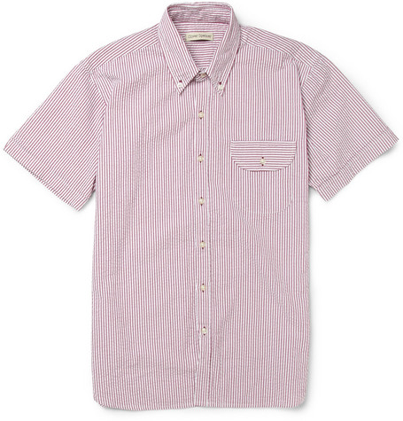 Oliver Spencer Dawnay Short-Sleeved Cotton-Seersucker Shirt