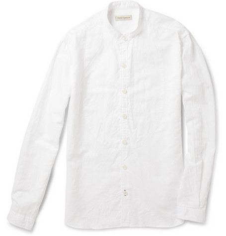 Oliver Spencer Bib-Front Grandad-Collar Linen-Blend Shirt