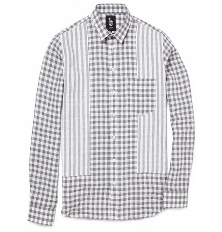 B Store Baracuda Striped and Checked Linen Shirt
