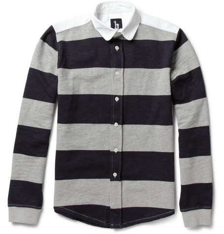B Store Book Striped Loopback-Cotton Rugby Shirt