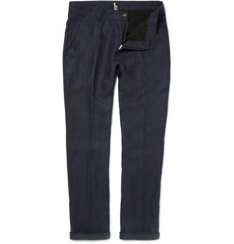 B Store Basil Slim-Fit Linen-Blend Trousers