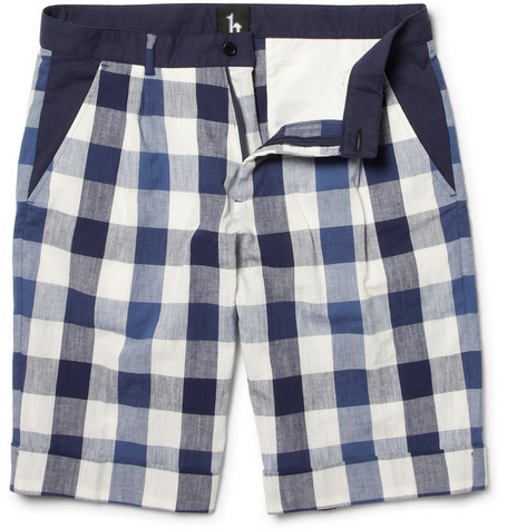 B Store Basil Pleated Buffalo Check Shorts