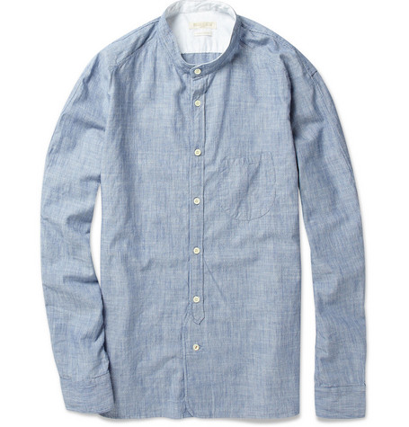 Levi's Made & Crafted Grandad-Collar Striped Chambray Shirt