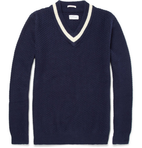 Gant Rugger Varsity Waffle Knit Cotton-Blend Sweater
