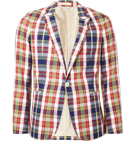 Gant Rugger Madras Plaid Cotton Blazer