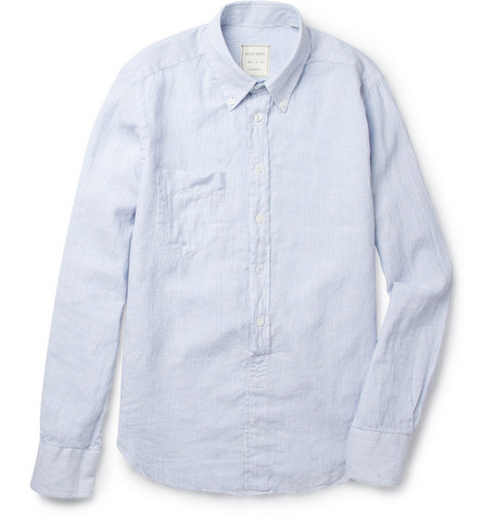 Billy Reid Brady Striped Linen and Cotton-Blend Shirt