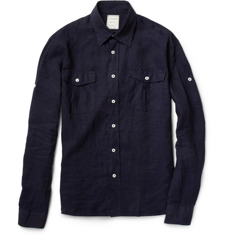 Billy Reid McDowell Chest Pocket Linen Shirt