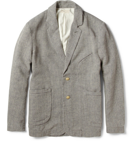 Folk Taped Unstructured Cotton and Linen-Blend Blazer