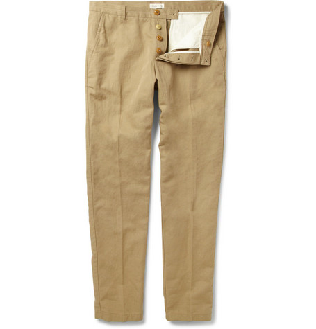 Folk Slim-Fit Cotton and Linen-Blend Trousers