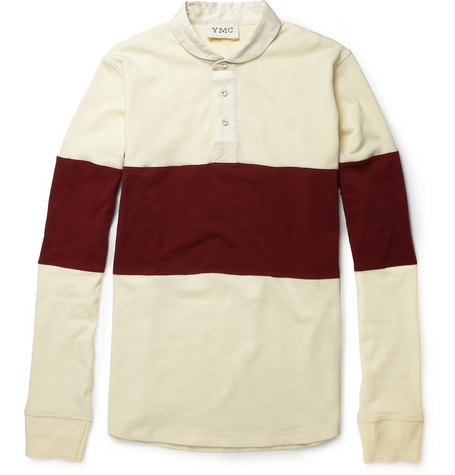YMC Contrast-Stripe Cotton Rugby Shirt