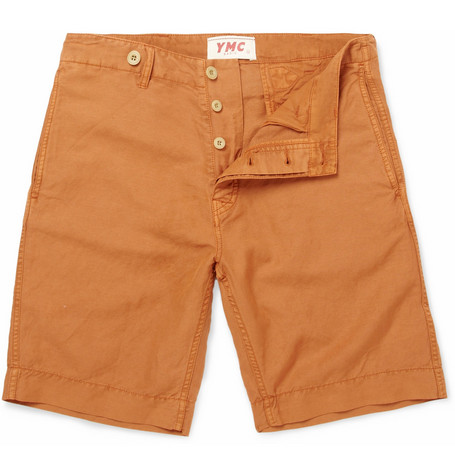 YMC Cinch-Back Linen-Blend Shorts