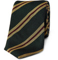 Drake's Slim Striped Woven-Silk Tie