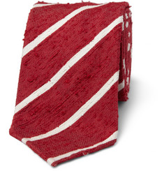 Drake's Slim Striped Shantung Silk Tie
