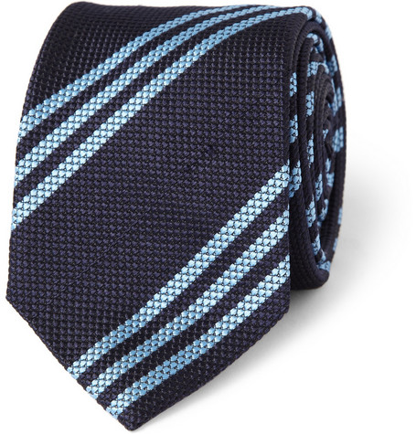Drake's Slim Triple-Stripe Woven-Silk Tie