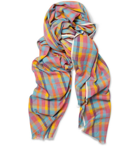 Drake's Madras-Check Cotton Scarf