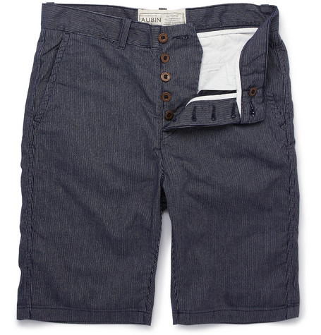 Aubin & Wills Striped Washed-Cotton Shorts