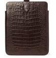 Smythson Crocodile-Embossed Leather iPad Sleeve