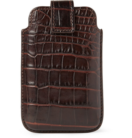Smythson Crocodile-Embossed Leather BlackBerry Case