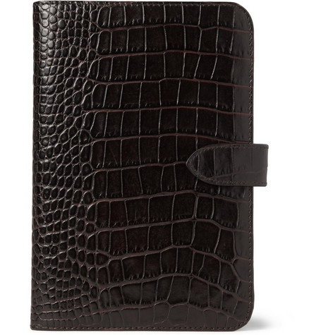 Smythson Crocodile-Embossed Leather Kindle Case