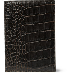 Smythson Crocodile-Embossed Leather Passport Cover