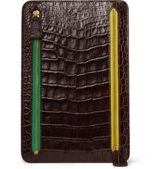Smythson Crocodile-Embossed Multi-Currency Wallet