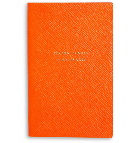 Smythson 'Work Hard, Play Hard' Leather Notebook