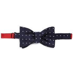 Turnbull & Asser Herringbone Silk Polka Dot Bow Tie