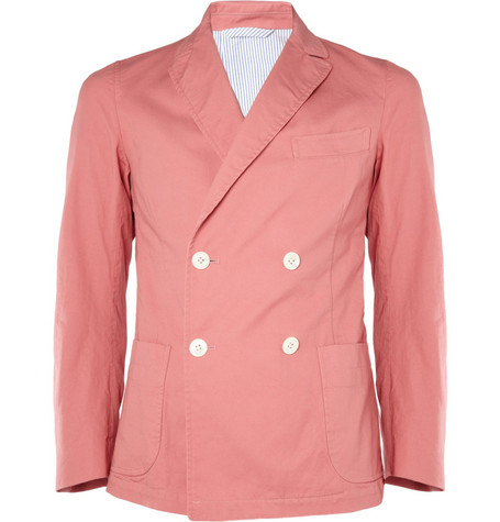 Beams Plus Double-Breasted Cotton-Twill Blazer