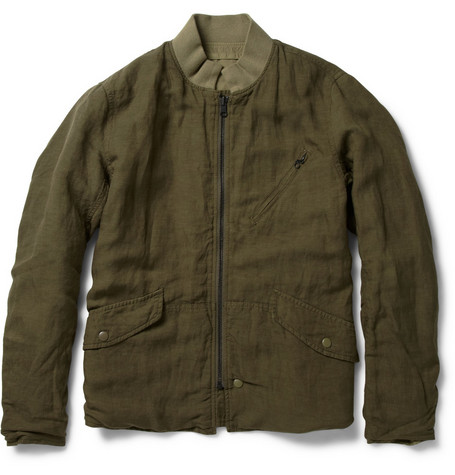 Beams Plus Reversible Cotton and Linen-Blend Bomber Jacket