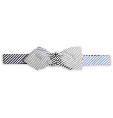 Beams Plus Striped Cotton-Seersucker Bow Tie