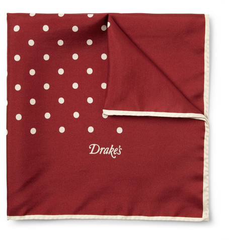 Drake's Silk Polka-Dot Pocket Square
