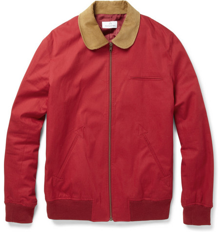 Hentsch Man Corduroy-Collar Cotton Bomber Jacket