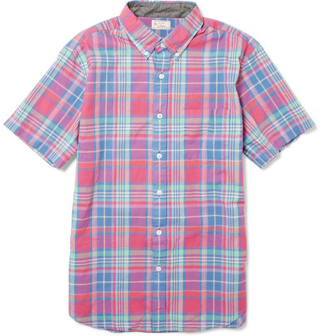 J.Crew Short-Sleeved Madras Cotton Shirt