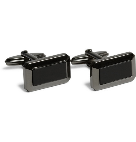 Lanvin Gunmetal and Onyx Cufflinks