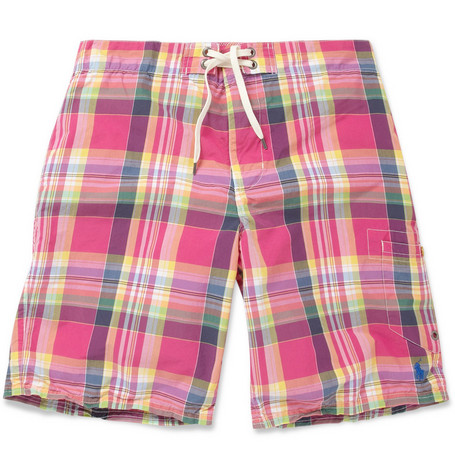 Polo Ralph Lauren Long-Length Plaid Swim Shorts