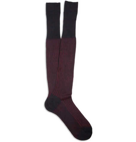 Bresciani Ribbed Knee Length Cotton Socks