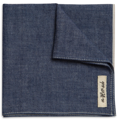 The Hill-Side Chambray Selvedge Pocket Square