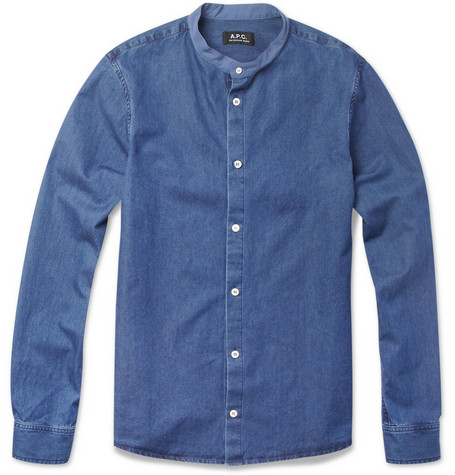 A.P.C. Grandad-Collar Denim Shirt