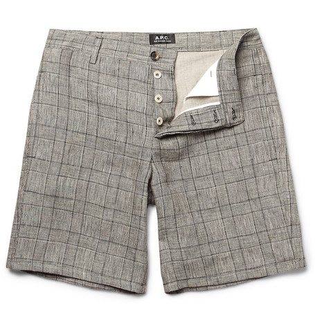 A.P.C. Prince of Wales Check Linen-Blend Shorts