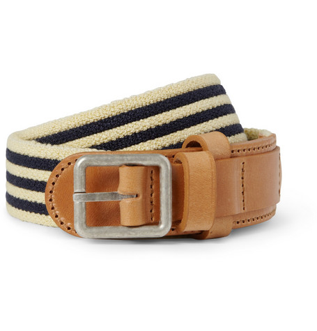 A.P.C. Striped Canvas and Leather Belt