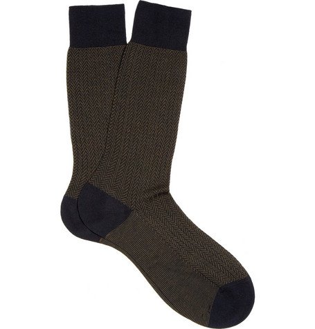 Pantherella Cotton-Blend Herringbone Socks