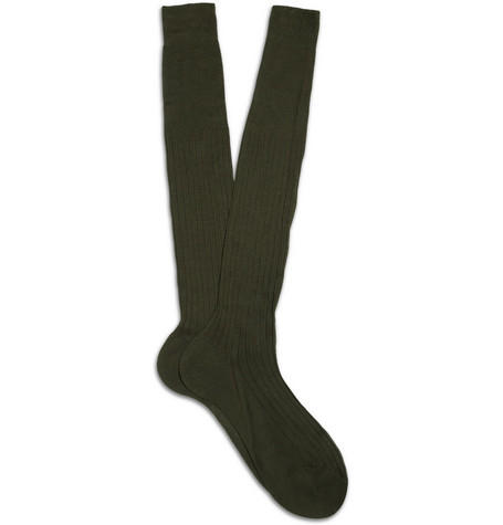 Bresciani Ribbed Cotton Knee Length Socks