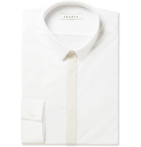 Sandro Casey Contrast-Placket Cotton Shirt