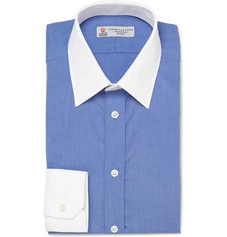 Turnbull & Asser Slim-Fit Contrast-Collar Cotton Shirt