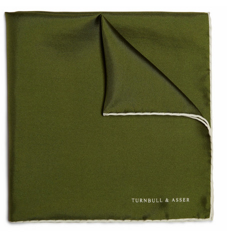 Turnbull & Asser Contrast-Edge Silk Pocket Square