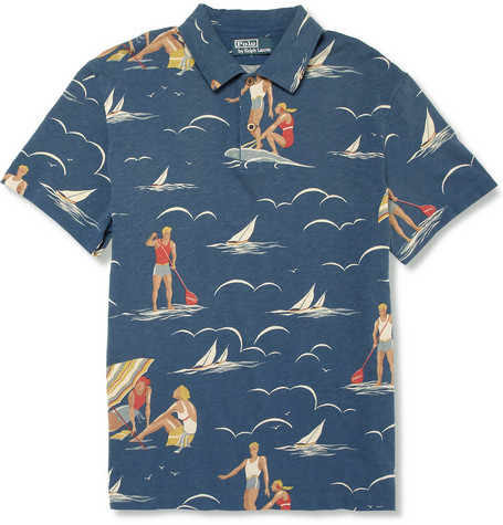 Polo Ralph Lauren Surf-Print Cotton-Jersey Polo Shirt