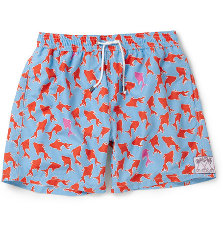 Pink House Mustique Mid-Length Fish-Print Swim Shorts